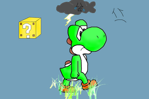 Yoshi wallpaper possibly containing anime entitled Sad Yoshi :(