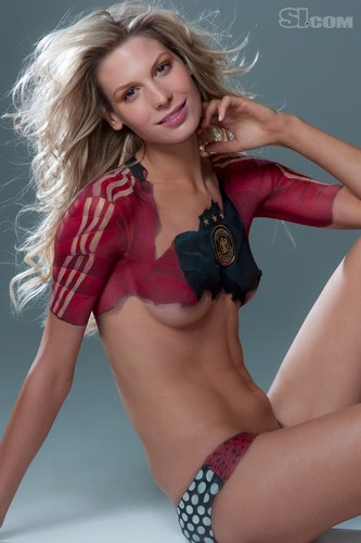 swimsuit si wallpaper containing a bikini entitled Sarah Brandner in Bodypaint: 2010 Issue