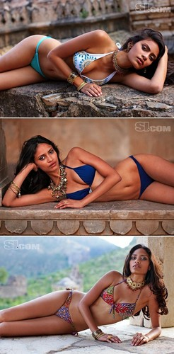 swimsuit si wallpaper containing a bikini and skin titled Sonia Dara Lounging on Rocks