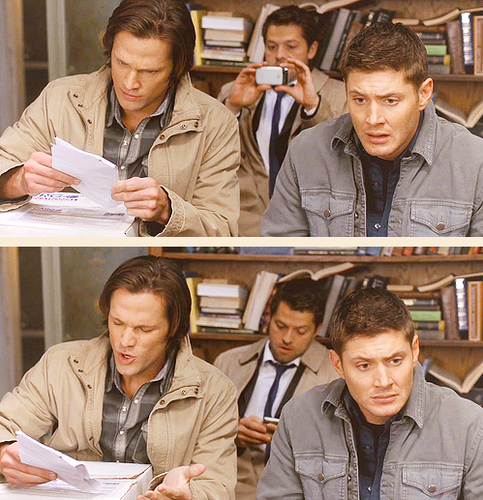 Dean, Sam and Misha as Castiel