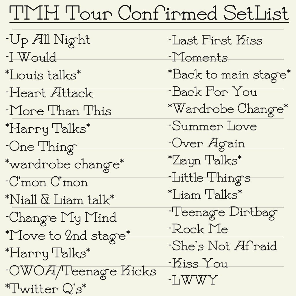 Take Me home pagina Tour SetList