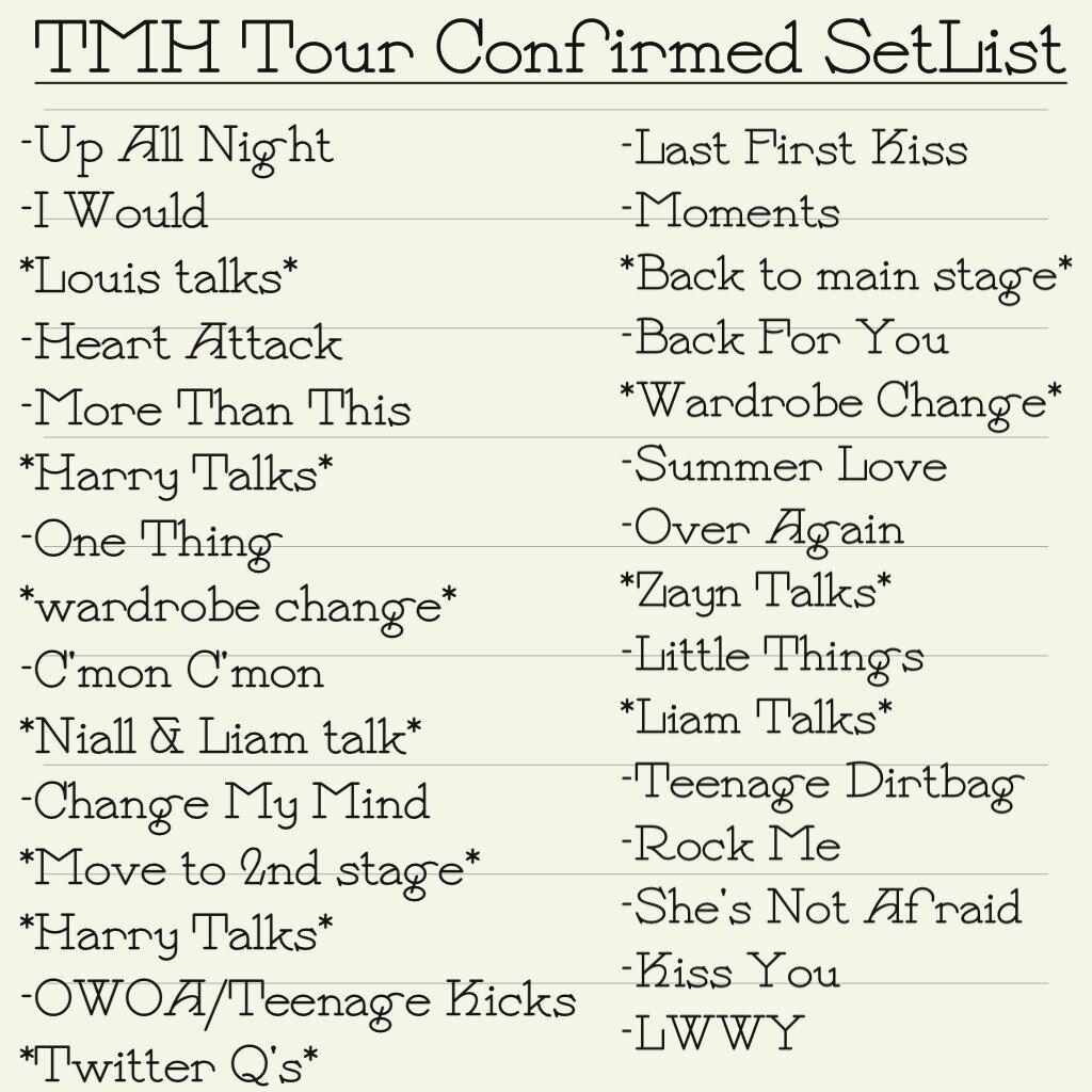 Take Me tahanan Tour SetList