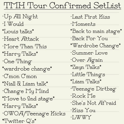 One Direction wallpaper titled Take Me Home Tour SetList