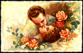 Vintage Postcard - Lovely Couple - vintage fan art