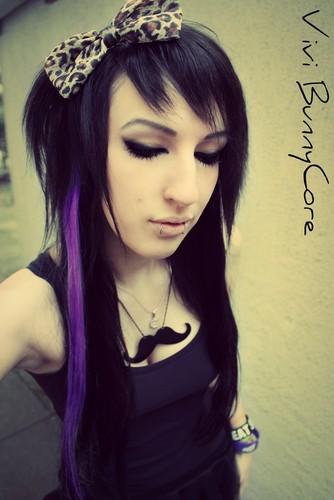 Vivi Bunnycore black and purple emo scenehair