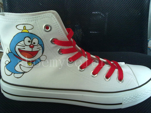 doraemon hand painted shoes