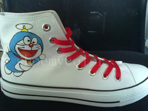 doraemon hand painted shoes