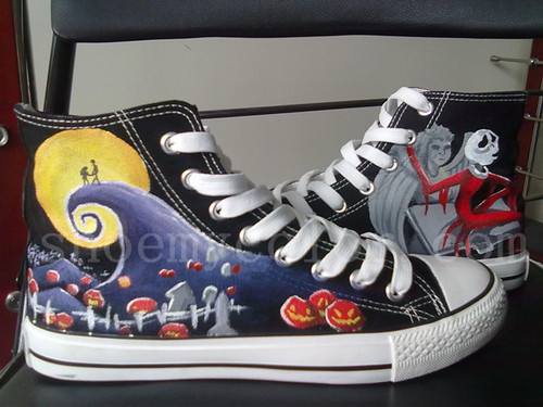 nightmare before 圣诞节 custom hand painted shoes