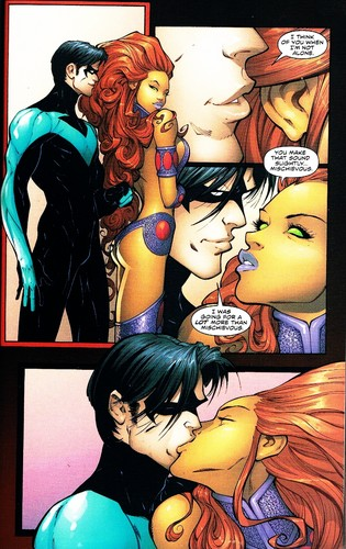 Teen Titans vs. Young Justice fond d'écran with animé called nightwing and starfire