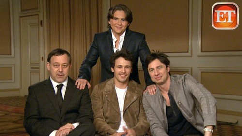 Zach Braff 바탕화면 with a business suit, a suit, and a three piece suit titled sam raimi, james franco, michael jackson's son prince jackson and zach braff on ETonline feb 2013