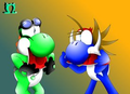 the_yoshi and spike - yoshi fan art
