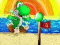 yoshi and the flag - deviantart fan art