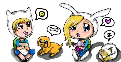 Adventure Time chibis~Finn and Fiona