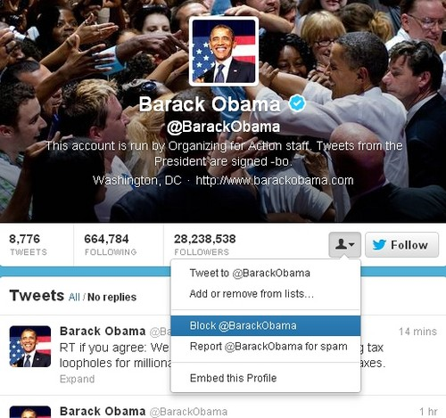 Blocking Obama on Twitter