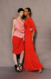 Antm winners پیپر وال probably containing a nightgown, a negligee, and an outerwear entitled Brittani Kline and Tyra 2