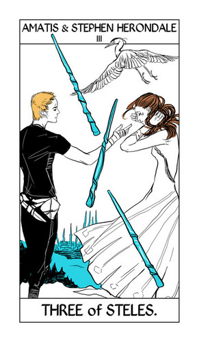 Cassandra Jean's Tarot Cards: Amatis & Stephen Herondale {Three of Steles}.