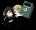 Chibi Heiwajima Shizuo About to Throw a Recycle Bin at Chibi Orihara Izaya - anime fan art