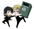 Chibi Heiwajima Shizuo About to Throw a Recycle Bin at Chibi Orihara Izaya