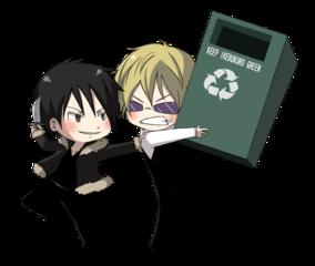 chibi Heiwajima Shizuo About to Throw a Recycle Bin at chibi Orihara Izaya