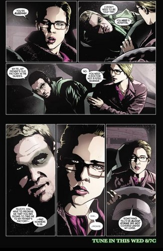 Oliver & Felicity achtergrond with a stained glass window and anime titled Comics