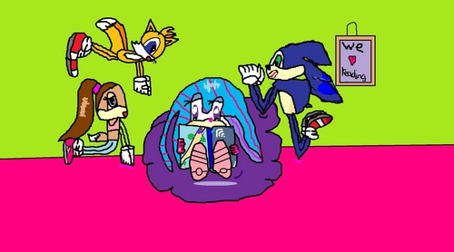 Connie's little としょうかん, ライブラリ - Sonic, Molly, Tails and Blossom.