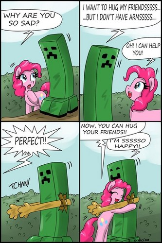 Creeper and Pinkie Pie
