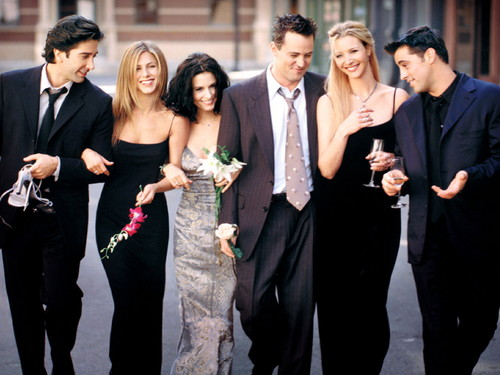 Memorable TV wallpaper with a bridesmaid and a business suit entitled Friends ಇ