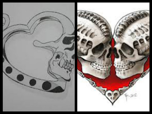 Here is my collage (sry for my spelling) of heart-shaped skulls