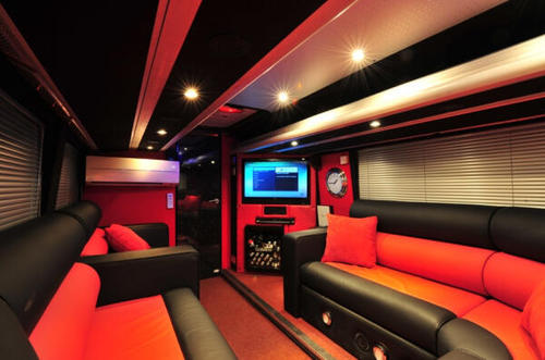 "वन डायरेक्शन वॉलपेपर with a घर theater entitled Inside the One Direction ""Take Me Home"" tour bus."