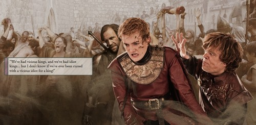 House Lannister wallpaper probably with a surcoat and a tabard titled Joffrey & Tyrion