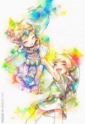 Link und Zelda are playing