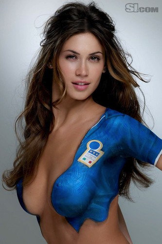 swimsuit si wallpaper probably containing skin called Melissa Satta in Bodypaint: 2010 Issue