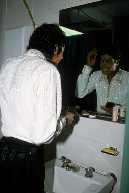 Michael Putting On His Makeup