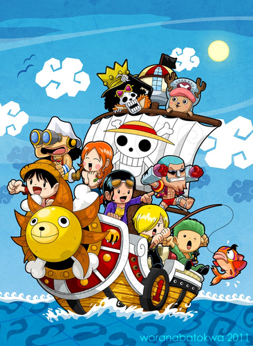Chibi wallpaper with anime titled ONE PIECE