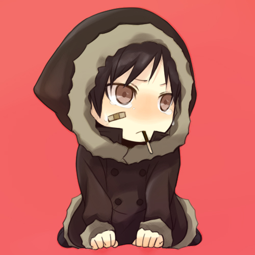 Teary Eyed Chibi Orihara Izaya Eating a Pocky Stick
