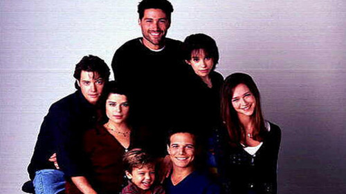 Memorable TV wallpaper probably with a well dressed person, a leisure wear, and an outerwear called Party of Five ಇ