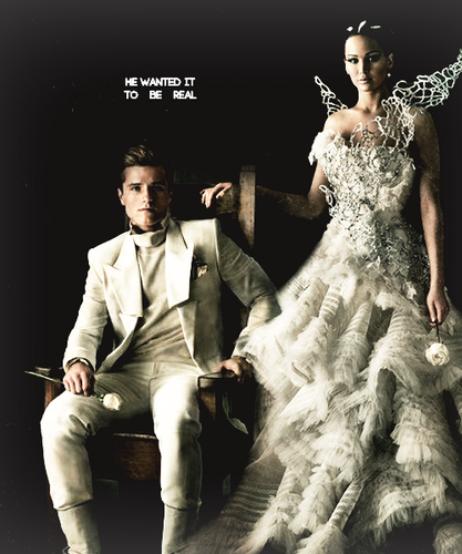 Catching Fire wallpaper with a business suit entitled Peeta & Katniss-Catching Fire Portraits