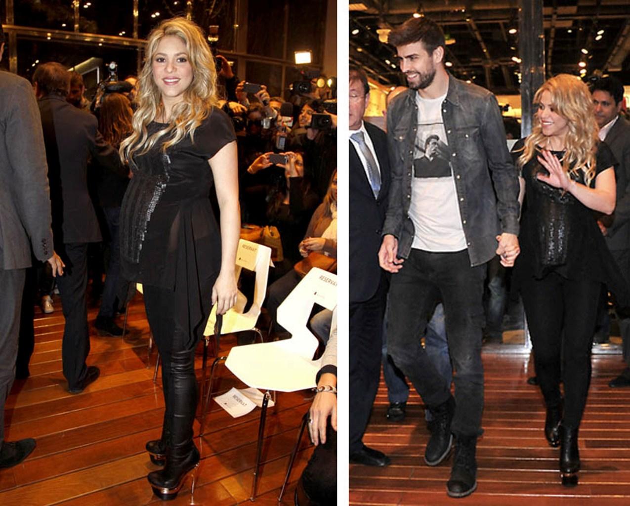 Shakira pregnant belly translucent shirt