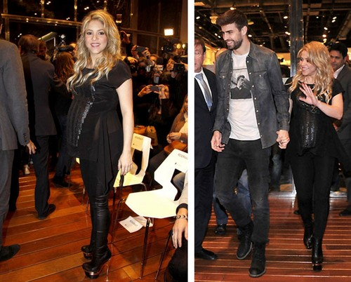 Shakira pregnant belly translucent shirt