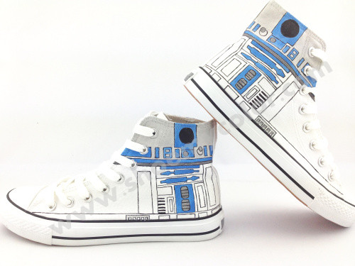 estrella Wars R2-D2 hand painted shoes
