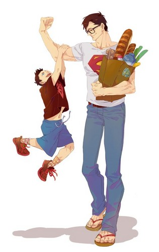 Young Justice wallpaper probably with long trousers, a well dressed person, and a pantleg titled Young Superboy and Superman shopping