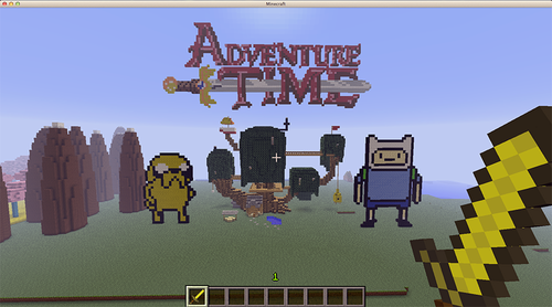 Adventure Time With Finn and Jake wallpaper containing a street titled Adventure Time: Minecraft