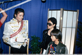 Backstage With Yoko Ono And Son, Sean Lennon, During The 1984 Victory Tour - michael-jackson photo