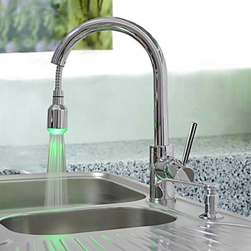 Faucets images brass pull down kitchen faucet with color changing led light spring wallpaper - Kitchen faucet with led light ...