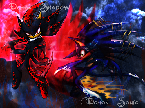Demon Sonic and Demon Shadow