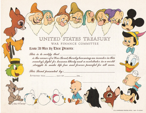 Disney War Bond from 1945
