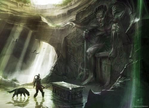 Elder Scrolls V : Skyrim karatasi la kupamba ukuta possibly with a kisima, chemchemi titled Fanart