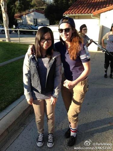 Kristen meeting a fan at the golf course
