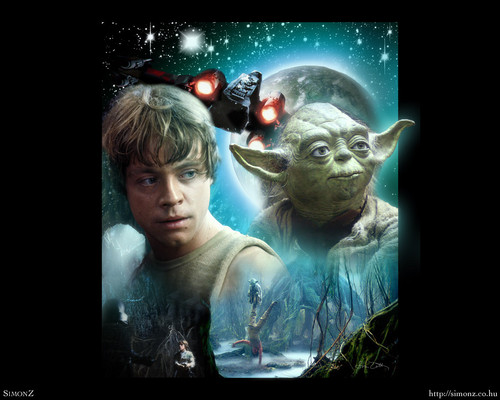 Star Wars wallpaper possibly with a sign entitled Luke & Yoda