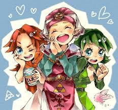 The Legend of Zelda wallpaper probably containing anime entitled Malon, Zelda and Saria
